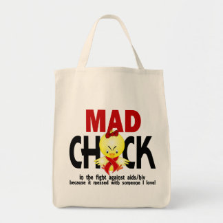 Mad Chick In The Fight AIDS Tote Bag