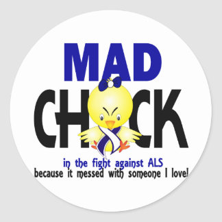 Mad Chick In The Fight ALS Round Stickers