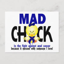 Mad Chick In The Fight Anal Cancer Postcard