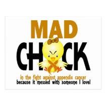 Mad Chick In The Fight Appendix Cancer Postcard