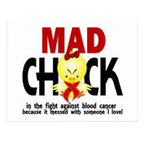 Mad Chick In The Fight Blood Cancer Postcard