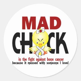 Mad Chick In The Fight Bone Cancer Classic Round Sticker