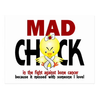 Mad Chick In The Fight Bone Cancer Postcard