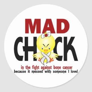 Mad Chick In The Fight Bone Cancer Round Stickers