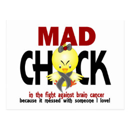 Mad Chick In The Fight Brain Cancer Postcard