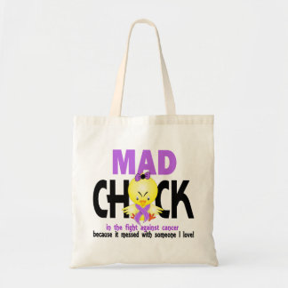 Mad Chick In The Fight Cancer Tote Bags