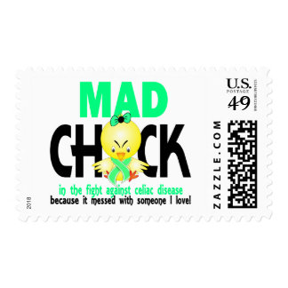Mad Chick In The Fight Celiac Disease Postage Stamp