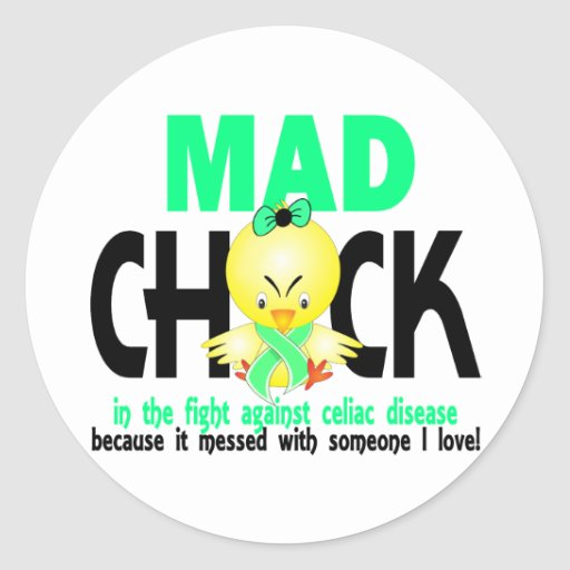 Mad Chick In The Fight Celiac Disease Stickers