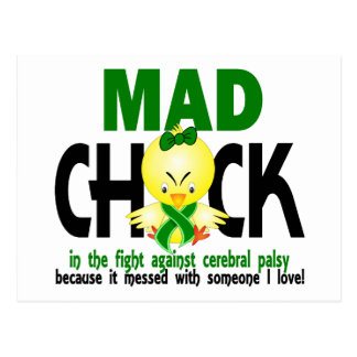 Mad Chick In The Fight Cerebral Palsy Postcard