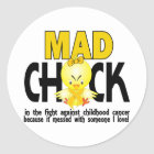 Mad Chick In The Fight Childhood Cancer Classic Round Sticker