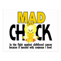 Mad Chick In The Fight Childhood Cancer Postcard