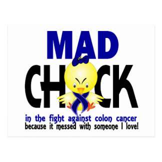 Mad Chick In The Fight Colon Cancer Postcard