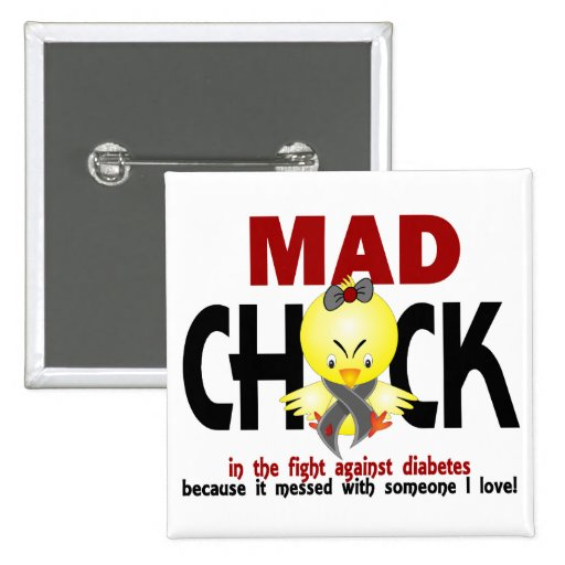Mad Chick In The Fight Diabetes 2 Inch Square Button