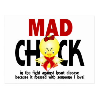 Mad Chick In The Fight Heart Disease Postcards