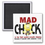 Mad Chick In The Fight Juvenile Diabetes 2 Inch Square Magnet