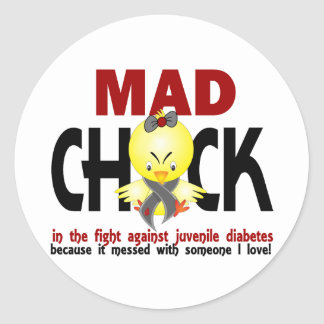 Mad Chick In The Fight Juvenile Diabetes Round Stickers