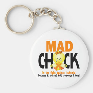 Mad Chick In The Fight Leukemia Key Chain