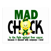 Mad Chick In The Fight Liver Cancer Postcard