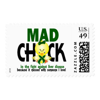 Mad Chick In The Fight Liver Disease Postage