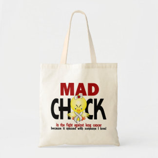 Mad Chick In The Fight Lung Cancer Budget Tote Bag