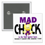Mad Chick In The Fight Lupus 2 Inch Square Button