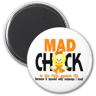 Mad Chick In The Fight MS 2 Inch Round Magnet