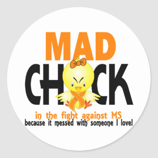 Mad Chick In The Fight MS Classic Round Sticker