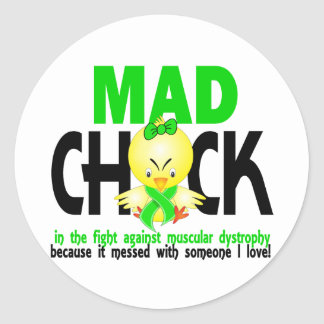 Mad Chick In The Fight Muscular Dystrophy Classic Round Sticker