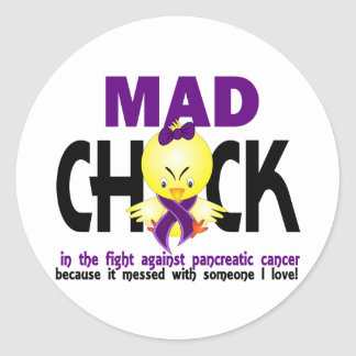Mad Chick In The Fight Pancreatic Cancer Classic Round Sticker