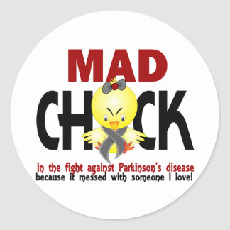 Mad Chick In The Fight Parkinson's Disease Classic Round Sticker