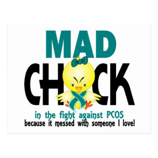 Mad Chick In The Fight PCOS Postcard