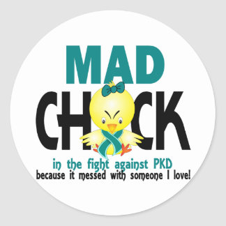 Mad Chick In The Fight PKD Classic Round Sticker