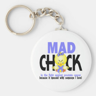 Mad Chick In The Fight Prostate Cancer Basic Round Button Keychain