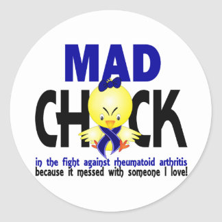 Mad Chick In The Fight Rheumatoid Arthritis Classic Round Sticker
