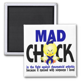 Mad Chick In The Fight Rheumatoid Arthritis 2 Inch Square Magnet