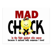 Mad Chick In The Fight Skin Cancer Postcard