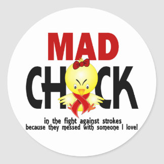 Mad Chick In The Fight Stroke Classic Round Sticker