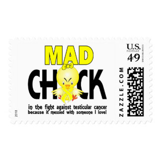 Mad Chick In The Fight Testicular Cancer Postage Stamps