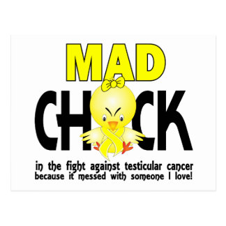 Mad Chick In The Fight Testicular Cancer Postcard