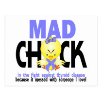Mad Chick In The Fight Thyroid Disease Postcard