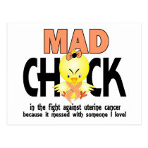 Mad Chick In The Fight Uterine Cancer Postcard