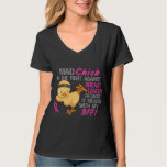 Mad Chick Messed With BFF 3 Breast Cancer Tshirts