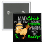Mad Chick Messed With Daddy 3 Lymphoma 2 Inch Square Button