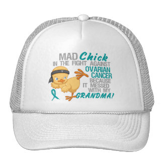 Mad Chick Messed With Grandma 3 Ovarian Cancer Trucker Hat