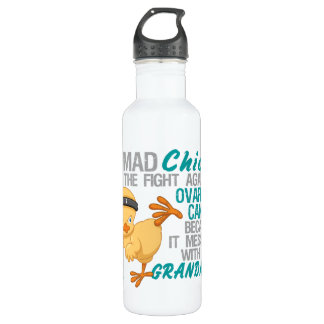 Mad Chick Messed With Grandma 3 Ovarian Cancer Stainless Steel Water Bottle