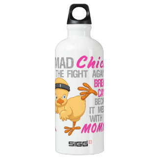 Mad Chick Messed With Mommy 3 Breast Cancer Aluminum Water Bottle