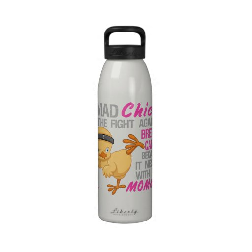 Mad Chick Messed With Mommy 3 Breast Cancer Drinking Bottles