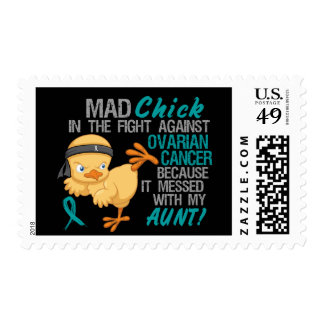 Mad Chick Messed With My Aunt 3 Ovarian Cancer Stamp