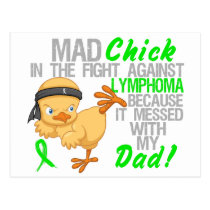 Mad Chick Messed With My Dad 3 Lymphoma Postcard