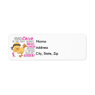Mad Chick Messed With My Sister 3 Breast Cancer Label